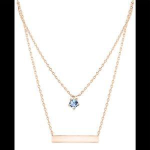 Jewelry - Bar Necklace Rose gold with zircon stone New